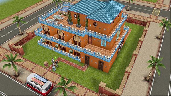 リゾートホテル風のホビーハウス、表の外観(The Sims フリープレイ)