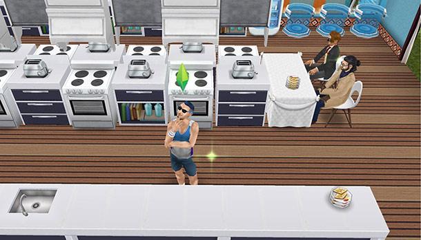 コンロとトースターが交互に並ぶクッキングホールで、考え事をする男性シム(The Sims フリープレイ)