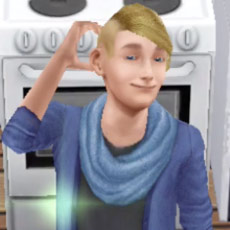 料理用コンロの前で得意顔のティーンシム(The Sims フリープレイ)