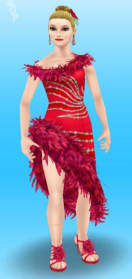 ラテンダンスのドレス赤を着た女性シム:全身(The Sims フリープレイ)
