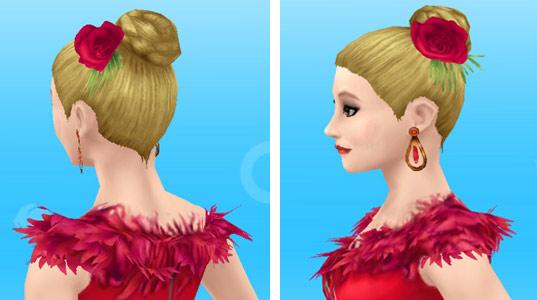 ラテンダンスのドレス赤を着た女性シム:頭部(The Sims フリープレイ)