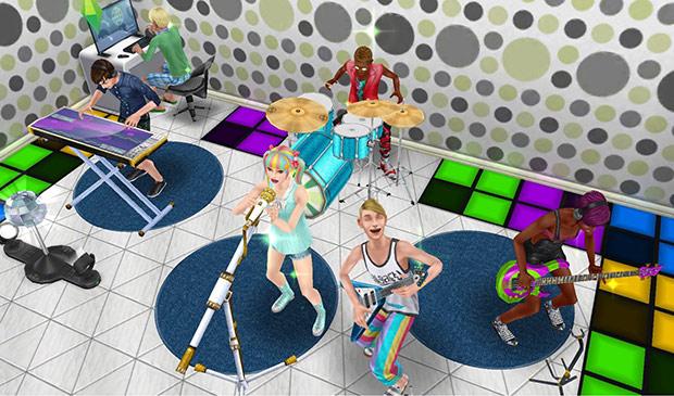 ボーカル、エレキギター、ベース、ドラム、キーボード、と全パートそろってパフォーマンスをするティーンシムバンド。パソコンを操作する音響スタッフもいる(The Sims フリープレイ)