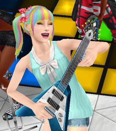ノリノリでエレキギターを演奏する笑顔のティーン女子シム(The Sims フリープレイ)