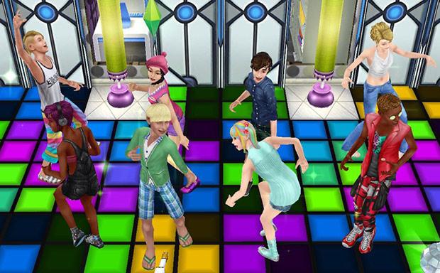 ダンスフロア、ダンスタイルで踊りまくるティーンシムたち(The Sims フリープレイ)