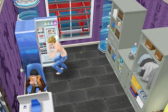 グレーの四角タイル、空手の壁紙、ネオトーキョー冷蔵庫、Progressiveパソコン、モスの洗濯ラック、モスのランドリーラック、光る銀河のオーブ、テレポーター、白いダブルスラット窓をレイアウトした楽屋(The Sims フリープレイ)