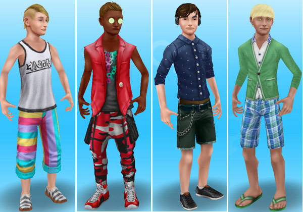 夏服姿のティーン男子シム4人(The Sims フリープレイ)