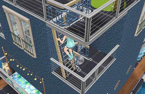 標準的な滑り棒のはしごを上るティーン女子シム(The Sims フリープレイ)