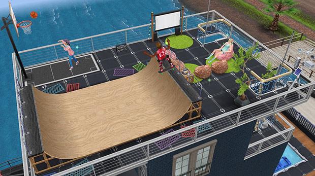 スケートランプ、バスケットボールコート、ステレオラジカセ、アウトドアシネマ、ビーンバッグチェア、アーバンなツリー、緑のシャギー2x2マス用ラグ、ネオトーキョーの塗装、鋼鉄の手すりなどをレイアウトした屋上(The Sims フリープレイ)