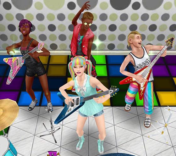 エレキギターとダンスのパフォーマンスをするティーンシムたち(The Sims フリープレイ)
