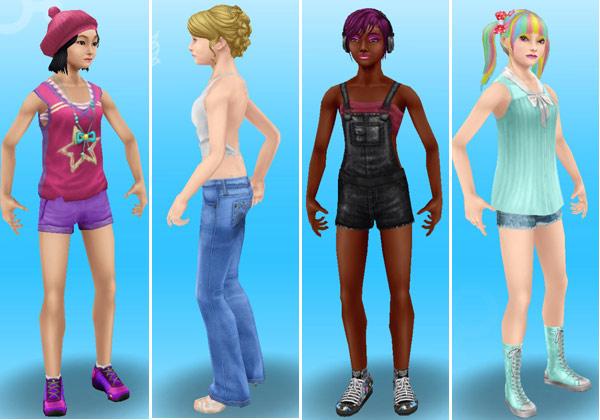 夏服姿のティーン女子シム4人(The Sims フリープレイ)