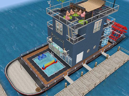 ティーンバンドのワールドツアーハウスボート外観(The Sims フリープレイ)