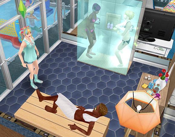 薄い色のダブルシャワー、薄い色のスパスタンド、サウナベンチ、アーバンなオレンジのランプ、青い六角タイルなどをレイアウトした共同シャワールーム(The Sims フリープレイ)