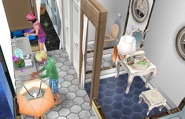 グレーや青い六角タイル、薄い色のダブルシンク、化粧台、白いデリースウォールランプ、アーバンなオレンジのランプ、薄い色のスパトイレ、グレーシムトーンの壁、白い丸窓、ラ・ドア、薄い色のシングルカーテンをレイアウトした洗面所、トイレ、化粧室(The Sims フリープレイ)