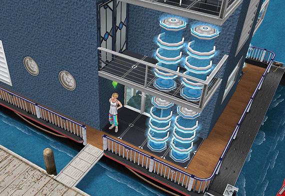 テレポーター、ネオトーキョーの塗装、ダークブルーのレンガ、鋼鉄の手すり、白いダブルスラットの窓、白い丸窓、白い北欧風ドア、SFドアなどをレイアウトしたハウスボートの入り口(The Sims フリープレイ)