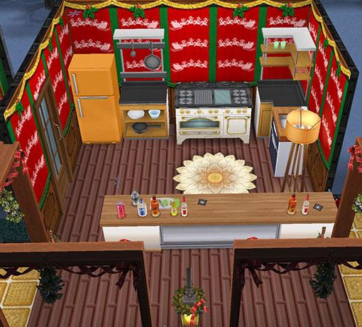おつまみカウンターとキッチン(The Sims フリープレイ)