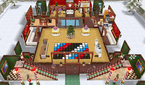 クリスマスパーティー城1階全体図(The Sims フリープレイ)