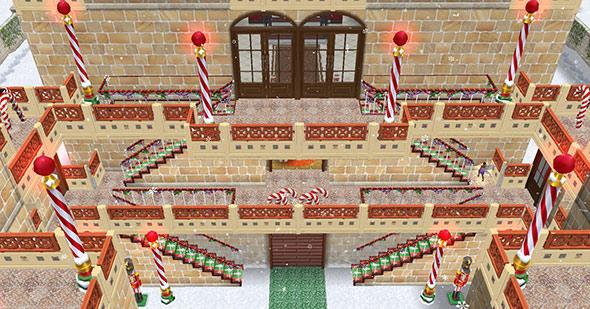 クリスマスパーティー場の正面外階段(The Sims フリープレイ)