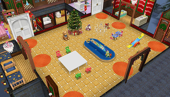 ちびっ子のためのクリスマスパーティー会場(The Sims フリープレイ)
