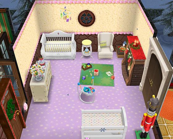 クリスマスのベイビールーム(The Sims フリープレイ)
