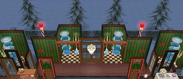 クリスマスのテレポータールーム(The Sims フリープレイ)