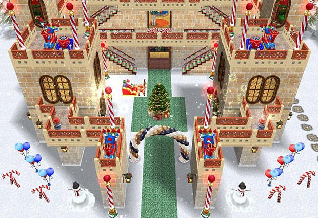 クリスマスパーティー城、正面。花火とツリー広場(The Sims フリープレイ)