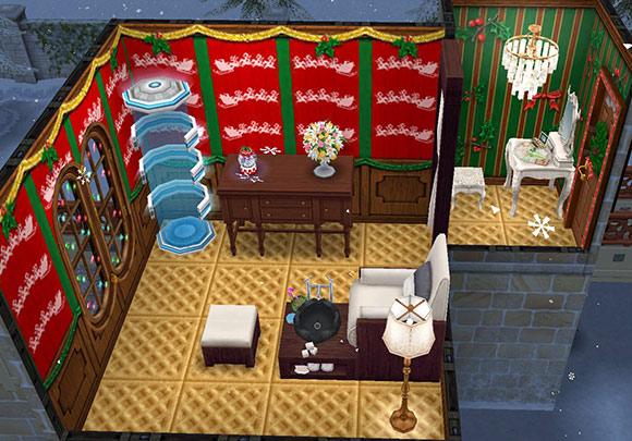 クリスマス装飾のペディキュアサロン(The Sims フリープレイ)