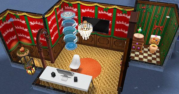 クリスマス装飾の待合室(The Sims フリープレイ)
