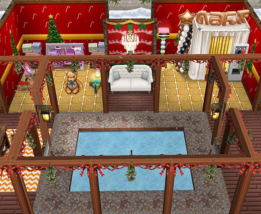 スケートリンクの中庭、おもちゃ宝庫、記念写真ブース(The Sims フリープレイ)