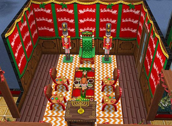 サンタクロースとクリスマスのご馳走会食場(The Sims フリープレイ)