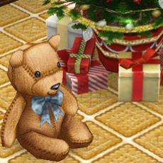くまのぬいぐるみ「おセンチなベン」、プレゼント、クリスマスツリー(The Sims フリープレイ)