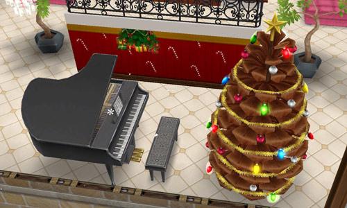 グランドピアノと松ぼっくりのクリスマスツリーのある広間(The Sims フリープレイ)