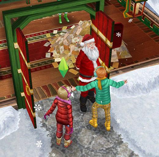 サンタクロースに会えて喜ぶ子どもシムたち(The Sims フリープレイ)