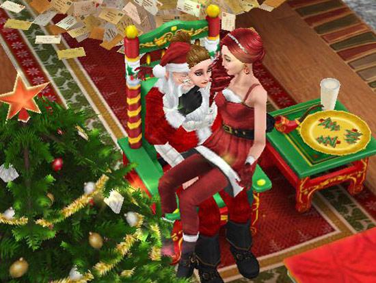 サンタクロースの中から顔を出すシムと、それに驚くシム(The Sims フリープレイ)