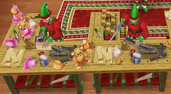 サンタ工房でおもちゃ作りに励むエルフたち(The Sims フリープレイ)