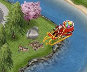 街の上空をトナカイのそりで飛びゆくサンタクロース(The Sims フリープレイ)