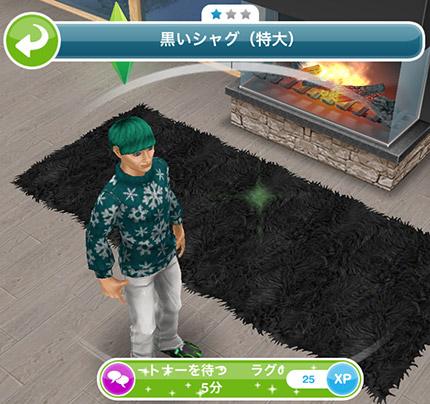 黒いシャグ「パートナーを待つ 5分」(The Sims フリープレイ)