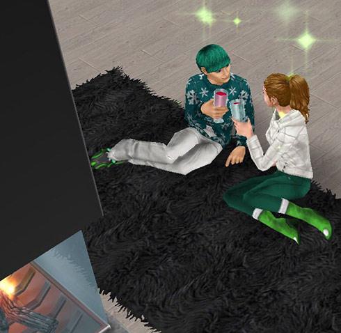 暖炉前シャグに座り、乾杯する男女シム(The Sims フリープレイ)
