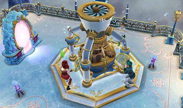 雪の宮殿にあるフロストブラスターのホイールを回すシムたち(The Sims フリープレイ)