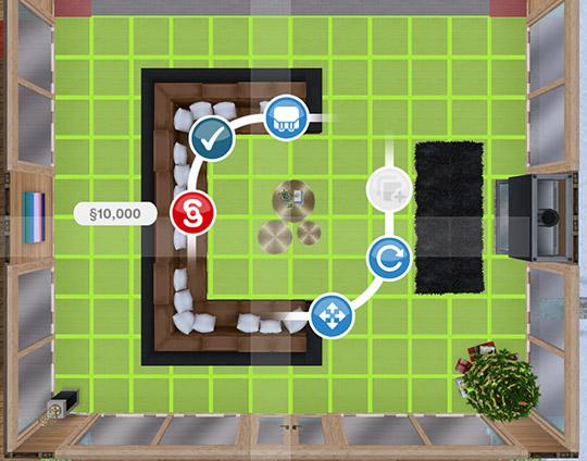 選択状態の吹き抜けアイテム、ブロンドの踊り場(The Sims フリープレイ)