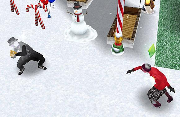 雪合戦に夢中になるおばあちゃんとおじいちゃんシム(The Sims フリープレイ)