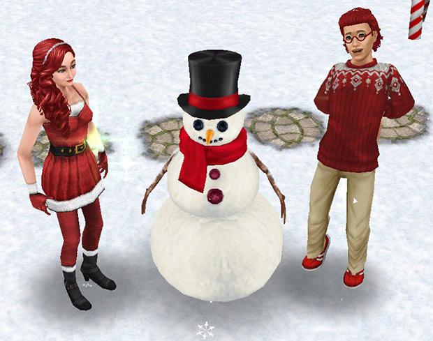 雪だるま Mr. フラーリーと、赤いクリスマスファッションのシムたち(The Sims フリープレイ)