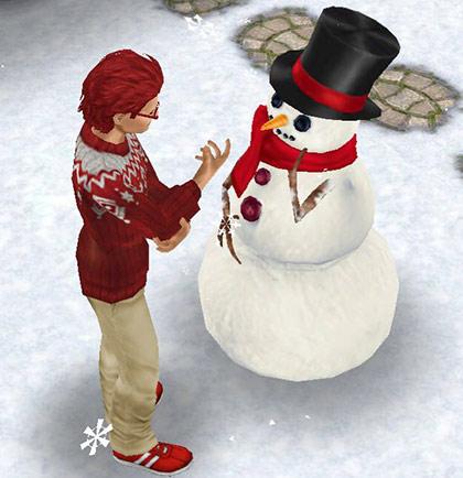 首をかしげる雪だるま Mr. フラーリー(The Sims フリープレイ)