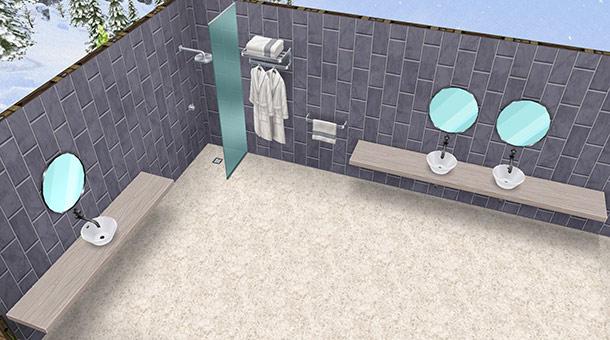 クロームのタオルラック、クロームのローブラック、シャレーのシャワーヘッド シルバー、そして2種類のシンク、シャレー シングル 白、と、シャレー ダブル 白(The Sims フリープレイ)
