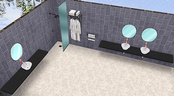 黒いタオルラック、黒いローブラック、シャレーのシャワーヘッド 黒、そして2種類のシンク、シャレー シングル 黒、と、シャレー ダブル 黒(The Sims フリープレイ)