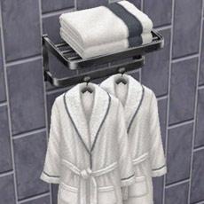 「クロームのローブラック」、壁「シャレーのグレーのタイル」(The Sims フリープレイ)