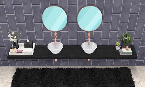 2人用シンク「シャレー ダブル 黒」、アメニティグッズ「黒と白の装飾」、デコレーション「植物の装飾」、壁「シャレーのグレイのタイル」、床「シャレーの白いカーペット」、ラグ「黒いシャグ」(The Sims フリープレイ)