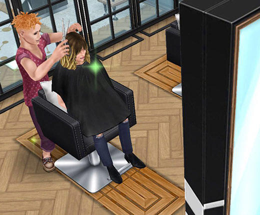 サロンのチェアで、美容師シムにヘアカットしてもらうお客シム(The Sims フリープレイ)