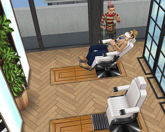 ペントハウス美容室・ひげ剃りエリア(The Sims フリープレイ)