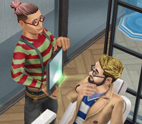 バーバーチェアで、ひげ剃り後に出来栄えを確かめるお客シムと、満足顔の理容師シム(The Sims フリープレイ)