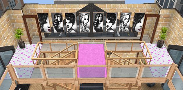 ペントハウス美容室・2階の階段ホール(The Sims フリープレイ)